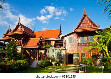 Thai style, Teakwood home in garden, Thailand
