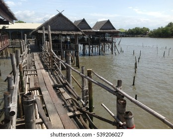 Thai style wooden bridge