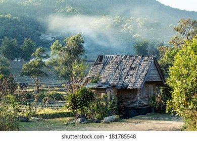 Thai style wooden hut of hill-tribe in Doi Inthanon national park, Thailand