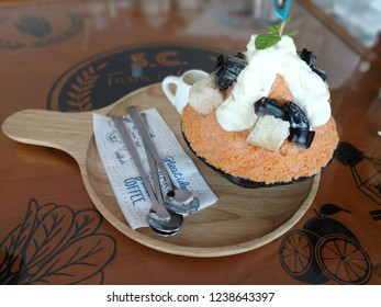 Thai Tea Bingsoo with jelly glass, Snow Dessert for summer, Very Delicious
