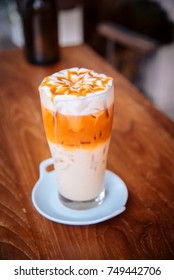 Thai tea is a drink. Sweet tasty and milk with ice.