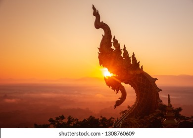 Thai temple art decoration great naga or king of naga animal in buddhist literature.
