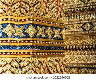 Thai Temple Decoration Styled At Wat Phra Phutthabat Temple, Saraburi Province , Thailand