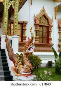 Thai Temple with A Dragon entrance