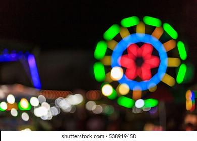 Thai temple festival fair in blurred and de-focus