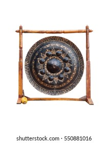 Thai Temple Gong with Wooden Stand Isolated on White Background