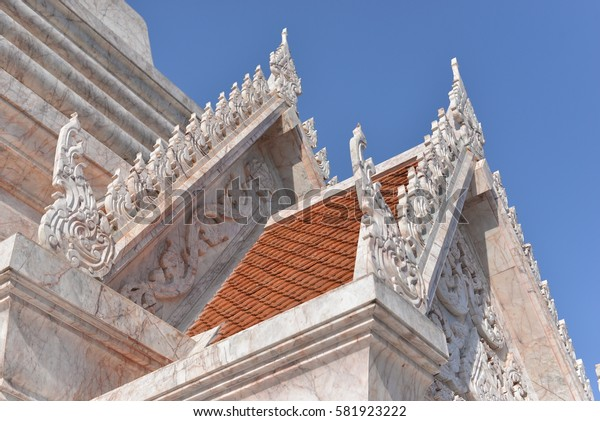 The Thai Temple made by marble stone, old architecture. sakonnakhon thailand