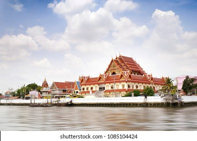 thai temple on riverside of chao phaya river