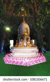 The Thai Temple , Pagoda in the pool , Khmer art , called Hauy Kaw Wat, is in Lopburi province , Thailand .on 11 March 2018