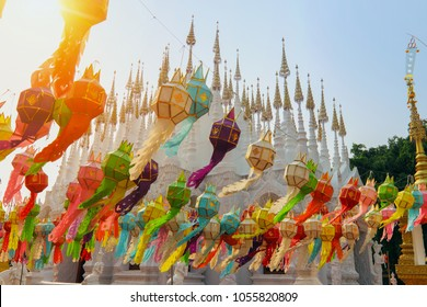 Thai temple (WatThai) is decorating the lamp before the start Songkran Festival. This culture  celebrated in a traditional New Year's Day.People Watering on Buddha statue and make merit with the monks