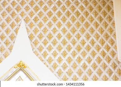thai temple white and golden wall