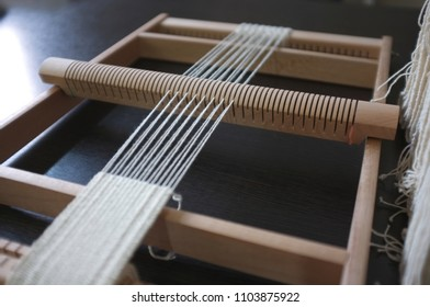 Thai textile , Workshop weaving loom , Silk cotton on the loom , concept creative , craft
