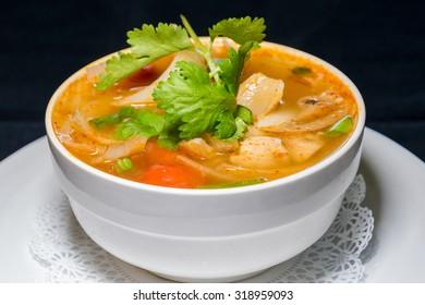 Thai Tom Yum Chicken Soup.
