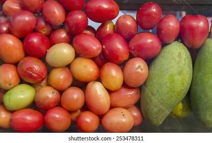 thai tomatoes and mango group background -  ingredient thai food