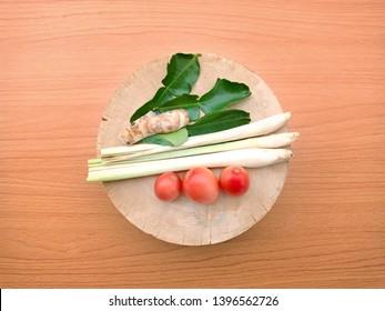 Thai tomyam ingredients on the cutting board in kitchen.Thai food ingredients.