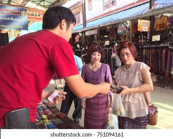 The Thai tourist enjoy their shopping at Ban Na Kha silk and souvenir market which located on high way between Nong Khai and Udon Thani province ( northeastern )4 November 2017