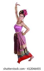 Thai tradition dance arts of northern Thailand. Northern Thailand costume set.