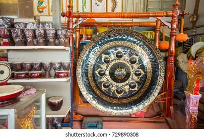 Thai tradition Drum making village at Ang thong province