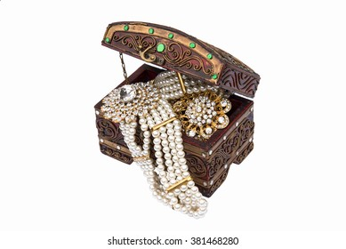 Thai traditional accessories in wooden box isolate