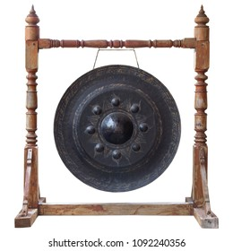 Thai traditional antique gong isolated on white background with clipping path