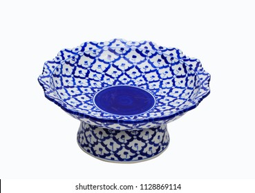 Thai traditional The Benjarong Ceramic , tray with pedestal blue and white porcelain
