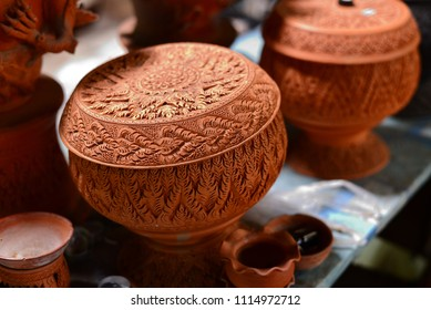 Thai traditional clay pottery for souvenir in kho Kred island in nonthaburi , thailand