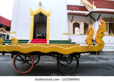 Thai traditional coffin carriage for cremation, move counter clockwise around the crematorium three times before the cremation ceremony