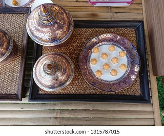 thai traditional dessert, jamongkut, display on ceramic plate. a royal thai recipe.