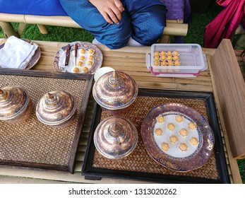 thai traditional dessert or snack  'ja mongkut' display in thai ceramic set. thai food concept.