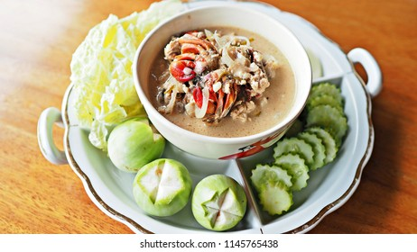Thai traditional dish : Chili paste mixed with small crabs, soy beans  and coconut milk.  Pu-Lon Thai menu.