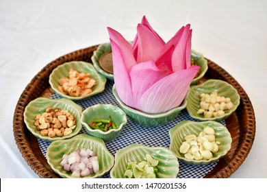 Thai traditional food, Asian raw healthy appetizer, Miang Kham lotus petals-wrapped, Salad stater refreshing with herbal nutrient.