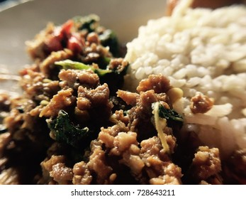 Thai traditional food, stir fried pork with basil, Warm tone color