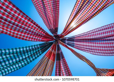 Thai Traditional loincloth or Kamar band flag with sky background