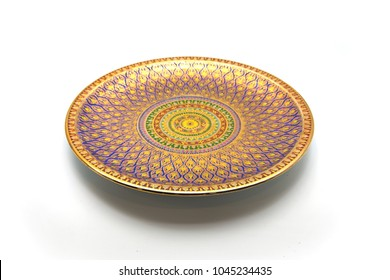 Thai Traditional Porcelain (Called Thai Benjarong) isolated on white background