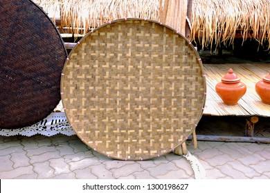 Thai traditional rice-winnowing basket or threshing basket.