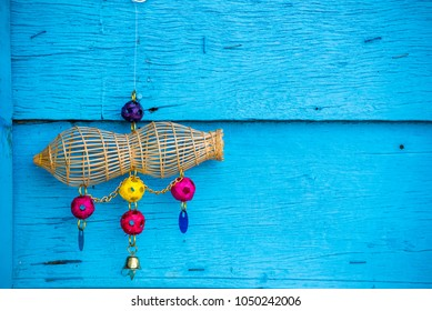 Thai Traditional Small Fish Trap, Thai Amulet Wood Fish Trap For Wealth And Income