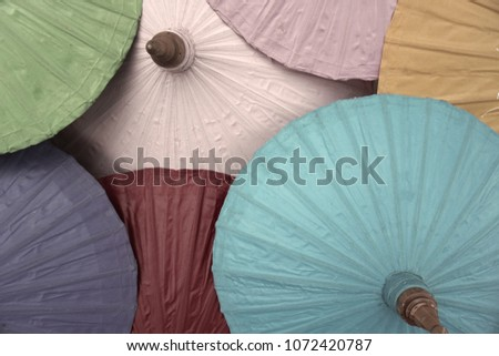 Thai Traditional Umbrella Northern Province Stock Photo