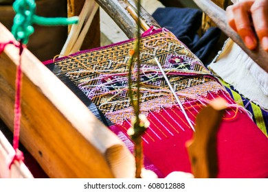 Thai Traditional Weaving with Weaving Machine, Chiang Mai, Thailand