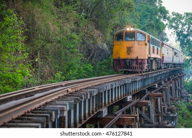 Thai Train on River Kwai Bridge of Kanchanaburi, Thailand