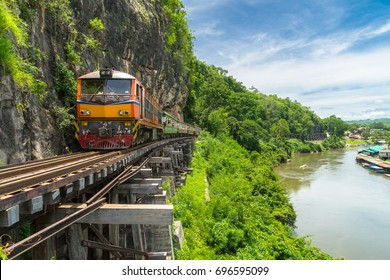 Thai Train on River Kwai Bridge of Kanchanaburi, Thailand.
