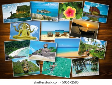 Thai travel, tourism concept - collage of Thailand images on wooden background