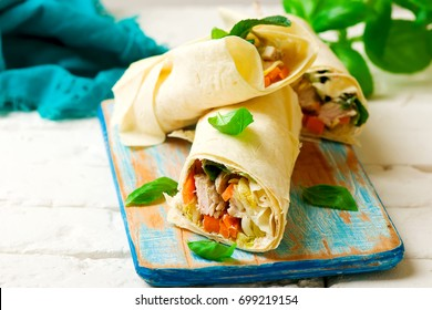 Thai turkey wrap..selective focus