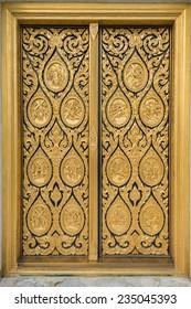 Thai vintage door at church of Assumption University, Thailand