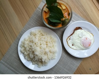 Thai White Ribbed Kang ped and egg fried with jasmine rice. Main course for Thai food. Dinner menu.