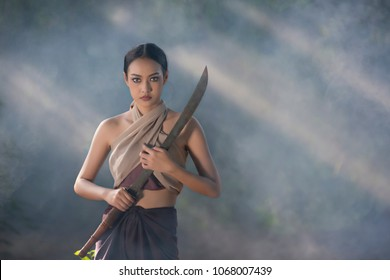 Thai woman warior. Ancient warrior woman of soldier.