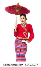 Thai women with traditional Thai lanna suit in Studio