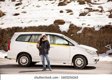 Thai women travel visit and portrait posing for take photo Gurudwara Pathar Sahib in Sikkim temple on Srinagar highway at Leh Ladakh in Jammu and Kashmir, India