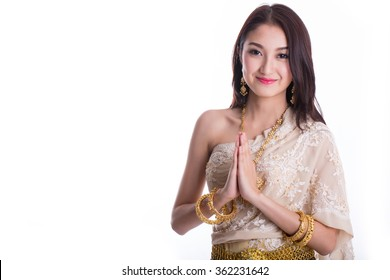 Thai women welcome with traditional Thai suit in Studio