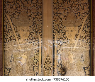 Thai wood door gild and cover with lacquer, the temple of dawn, Bangkok, Thailand