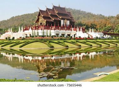 Thai wood temple in chiangmai, Thailand